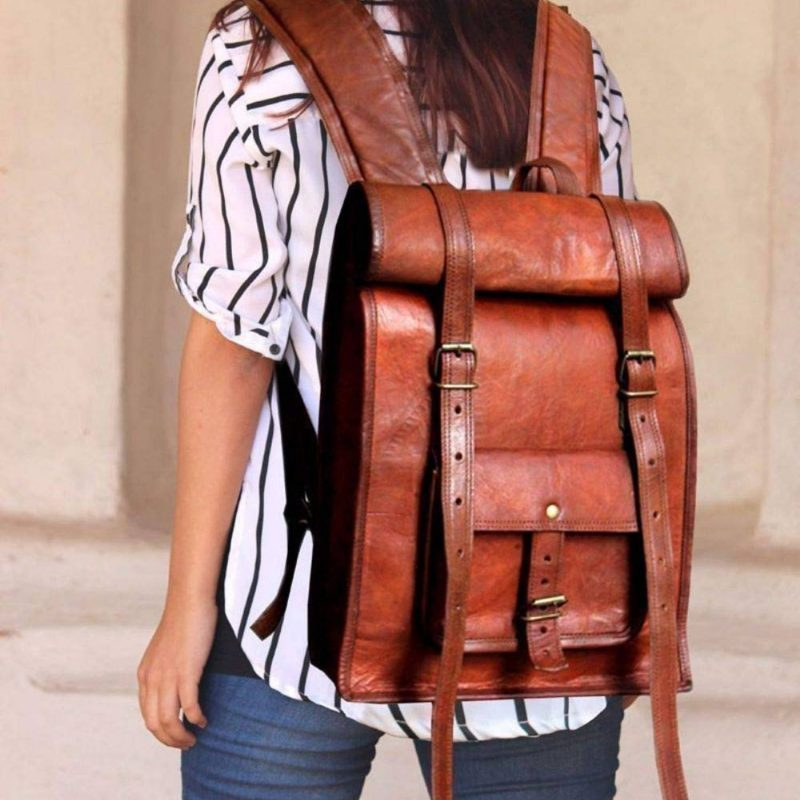 Trailblazer Rolling Top Leather Backpack Rucksack
