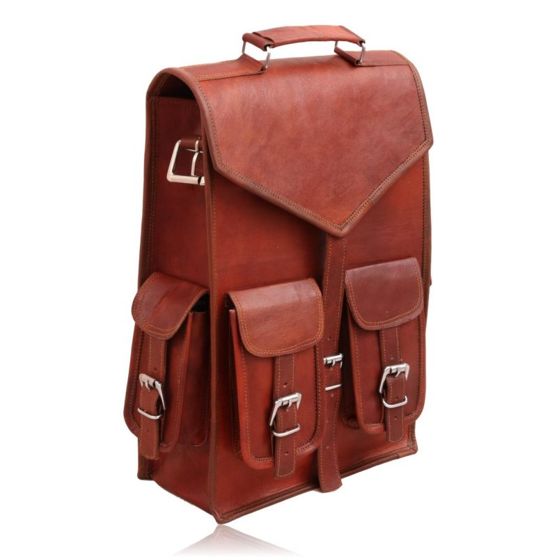 Classic Vintage Leather 2 in 1 Backpack Messenger Bag