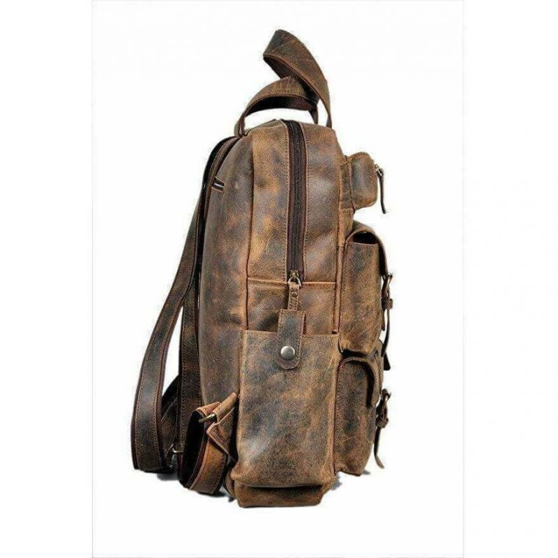 The Companion Hunter Leather Rustic Backpack
