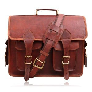 Vintage Leather Multi Pocket Camera Messenger Bag